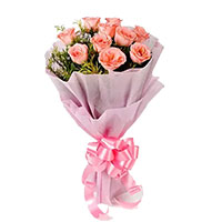 Send Mothers Day Flowers to India. Deliver Pink Roses Bouquet 10 Flowers to India