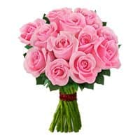 Online Flowers Delivery to Surat. Send Pink Roses Bouquet 12 Flowers to Surat