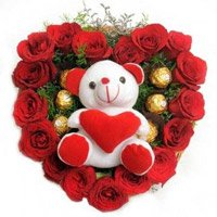 Send 18 Red Roses Diwali Flower to India Online and 5 Ferrero Rocher with Teddy Heart