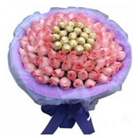 Send Father's Day Gifts to India and 50 Pink Roses 16 Pcs Ferrero Rocher Bouquet of Chocolates in Visakhapatnam