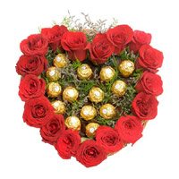 Diwali Gifts Delivery in Mumbai. Send Heart Of 16 Pcs Ferrero Roacher N 18 Red Roses to India