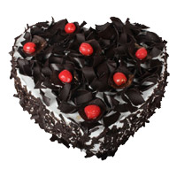 Place order to send 2 Kg Heart Shape Black Forest Cake to India