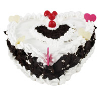 Send Online 3 Kg Heart Shape Black Forest Cake to India