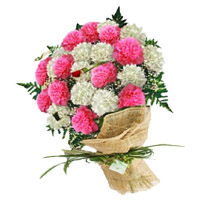 Send Pink White Carnation Bouquet 24 Rakhi Flowers to India