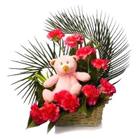 Send Teddy Basket With Flowers to India