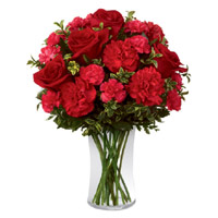 Online Red Roses Red Carnations in Vase 20 Flowers in India with Rakhi