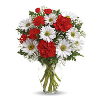 Send Rakhi Flowers to India. White Gerbera Red Carnation Vase 12 Flowers to India