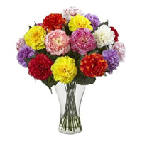 Send Mixed Carnation Vase 24 Best Flowers to India on Rakhi