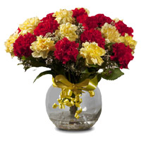 Send Online Flowers Delivery in India with Red Yellow Carnation Vase 18 Flowers on Rakhi