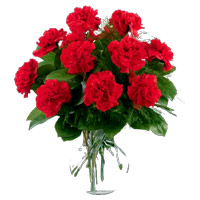 Deliver Rakhi with Red Carnation Vase 12 Flowers to India