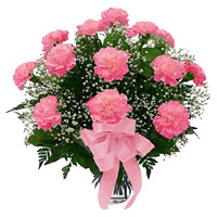Order Rakhi and Pink Carnation in Vase with 12 Flowers to India