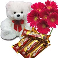 Online Delivery Diwali Gifts to Chandigarh. 6 Red Gerbera, 6 Inch Teddy Bear and 4 Five Star Chocolates to India
