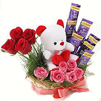 Father's Day gifts to India consisting 12 Red Roses 10 Ferrero Rocher Bouquet India