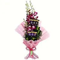 Gifts to India with 12 Red Roses 5 Ferrero Rocher Bouquet