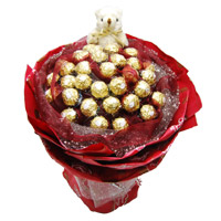 Father's Day Gifts Delivery to India. 24 Pcs Ferrero Rocher 6 Inch Teddy Bouquet
