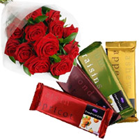 Send Chocolates and Diwali Gift in India. 4 Cadbury Temptation Bars with 12 Red Roses Bunch