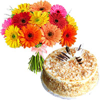 Mix Gerbera and Butter Scotch Cakes to India