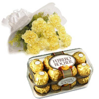 Online Order for Diwali Gifts Delivery in Mohali. Send 10 Yellow Carnation 16 Pcs Ferrero Rocher Chocolate to India