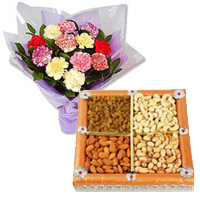 12 Mixed Carnation With 1/2 Kg Dry Fruits with 2 Free Rakhi to Jodhpur