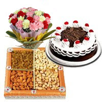 Online Gifts to India including 12 Mix Carnation with 1/2 Kg Black Forest Cake and 1/2 Kg Dry Fruits in India