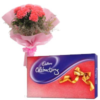 Online Diwali Gifts Delivery to India. Deliver 6 Pink Carnation and Cadbury Celebration Chocolates in India
