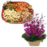 Gifts to Belgaum. Send 10 Purple Orchids Basket with 1/2 Kg Assorted Dry Fruits in India
