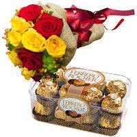 Send 12 Red Yellow Roses Bunch 16 Pcs Ferrero Rocher Chocolate to India for Diwali