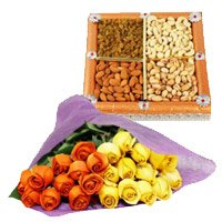Wedding Gifts Delivery in India. Send 24 Orange Yellow Roses Bunch 1/2 Kg Dry Fruits