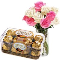 Place Online Order for 10 Pink White Roses Vase 16 Pcs Ferrero Rocher Diwali Chocolates to India