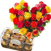Birthday Gifts to Daman. 30 Mix Roses Heart 16 Pcs Ferrero Rocher Chocolates to Daman