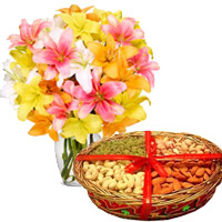 Send Gifts to India. 10 Mix Lily Vase with 1 Kg Mix Dry Fruits to India