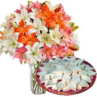 Send Flowers with Kaju Katli