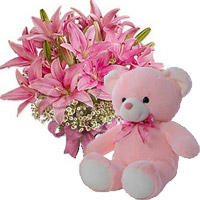 Rakhi Flowers to India. 6 Oriental Pink Lily with 6 Inch Teddy Bear