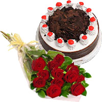12 Red Roses 1/2 Kg Eggless Black Forest Cake with 2 Free Rakhi in Kochi