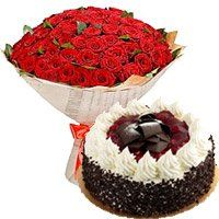 Midnight Cakes Delivery to Surat. 100 Red Roses 1 Kg 5 Star Hotel Black Forest Cake to Surat