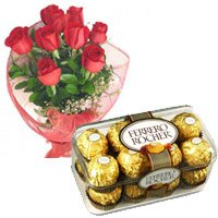 Order for Diwali Gifts contain contains 12 Red Roses and 16 pieces Ferrero Rocher Chocolate in India