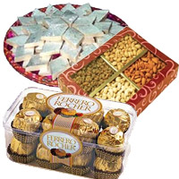 Send 1 Kg Dry Fruits to India with 1/2 Kg Kaju Katli and 16 Pcs Ferrero Rocher to India