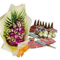 Diwali Gifts to India with 5 Orchids with Assorted Crackers worth Rs 2000