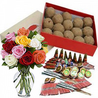 Diwali Gift Same Day Delivery in India. 500gm Atta Laddoos and 12 Mix Roses in Glass Vase with Assorted Crackers worth Rs 1800