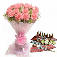 Crackers to India including 24 Pink Carnation Bouquet with Assorted Crackers worth Rs 1500