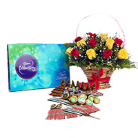 Send Diwali Gifts to India with Crackers 1 containing Celebration Pack and 18 Red Yeloow Mix Flowers Basket with Assorted Crackers worth Rs 1200
