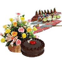 500gm Chocolate Cakes and 20 Mix Roses Basket with Assorted Crackers worth Rs 1200. Deliver Diwali Gifts in India same Day