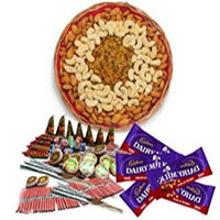 1 Kg Assorted Dry Fruits and 5 Dairy Milk with Assorted Crackers worth Rs 600Send Diwali Gifts to India.
