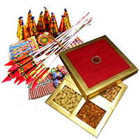 500gm Dry Fruits Box with Assorted Crackers worth Rs 1000. Diwali Gifts to India and Crackers.