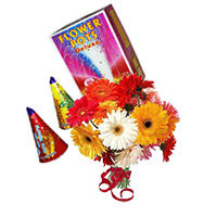 Diwali Gifts to India. 12 Mix Gerbera Bunch with 2 Box Flower Pot(Anaar)