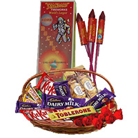 Basket of Assorted Chocolates and 10 Red Roses with 1 Box Rocket contain 10pcs. Diwali Gifts in India.