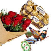 Diwali Gifts Delivery in India deliver to 16 Pcs Ferrero Rocher and 12 Red Roses Bunch with Assorted Crackers worth Rs 500
