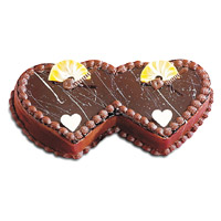 Online Cake Shop in India to send 2 Kg Double Heart Shape Chocolate Cake