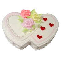 Send 2 Kg Double Heart Shape Pineapple Cake to India Online