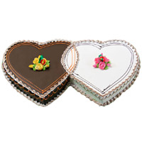 Shop for 3 Kg Double Heart Chocolate Vanilla 2-in-1 Cake to India